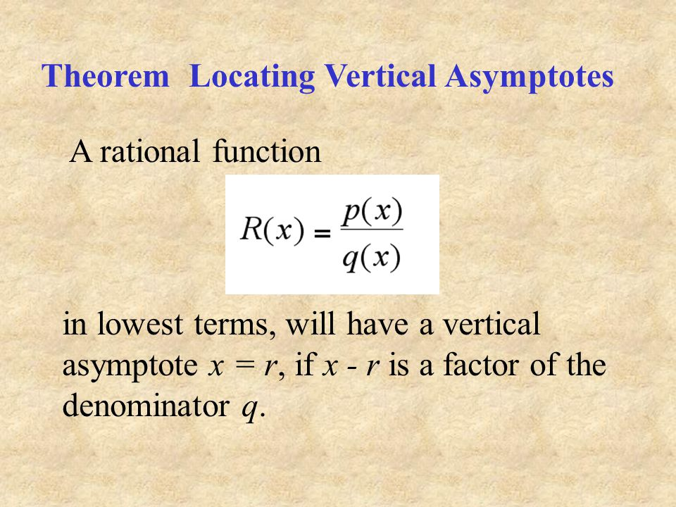 Theorem Locating Vertical Asymptotes