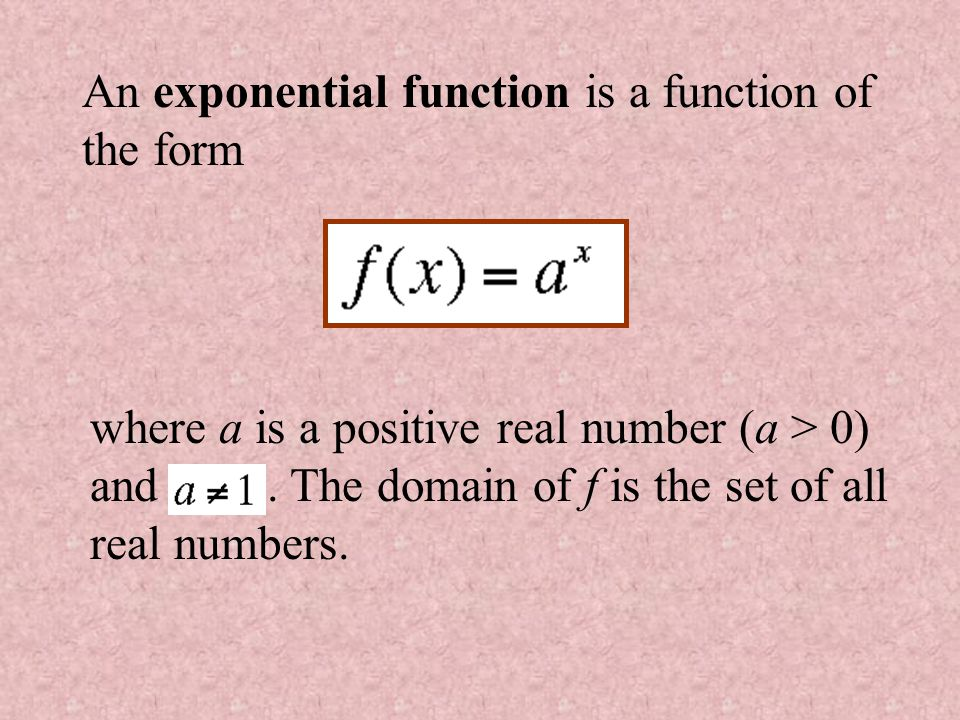 An exponential function is a function of the form