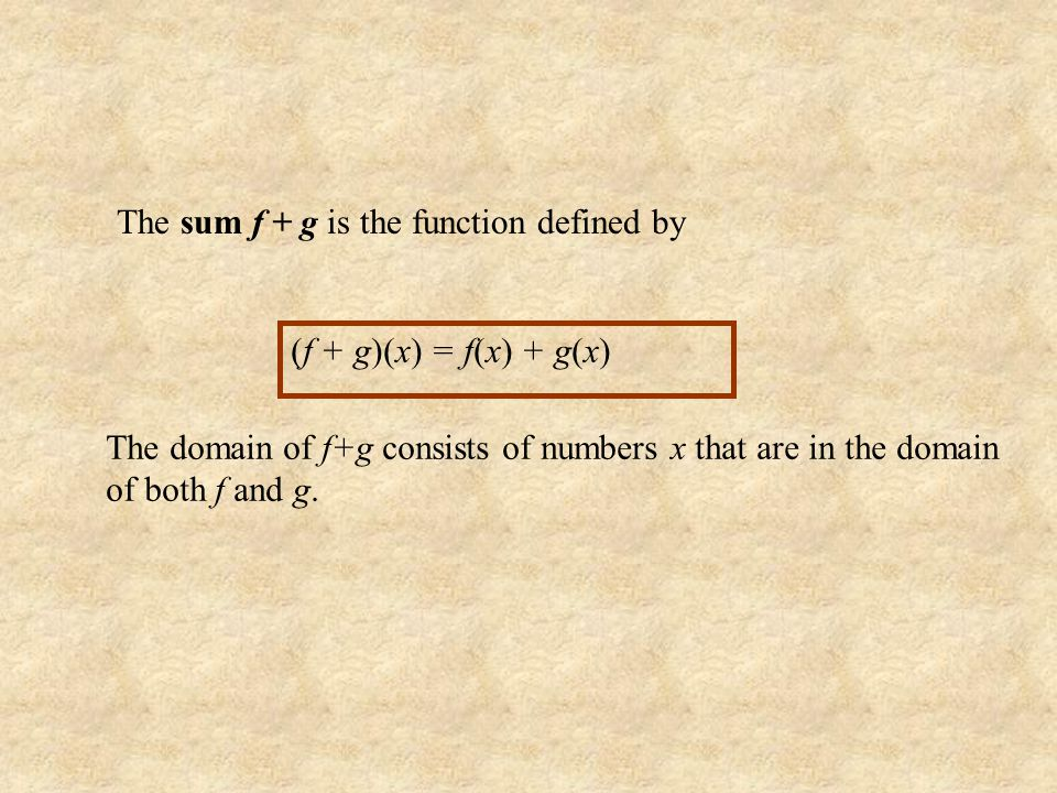 The sum f + g is the function defined by