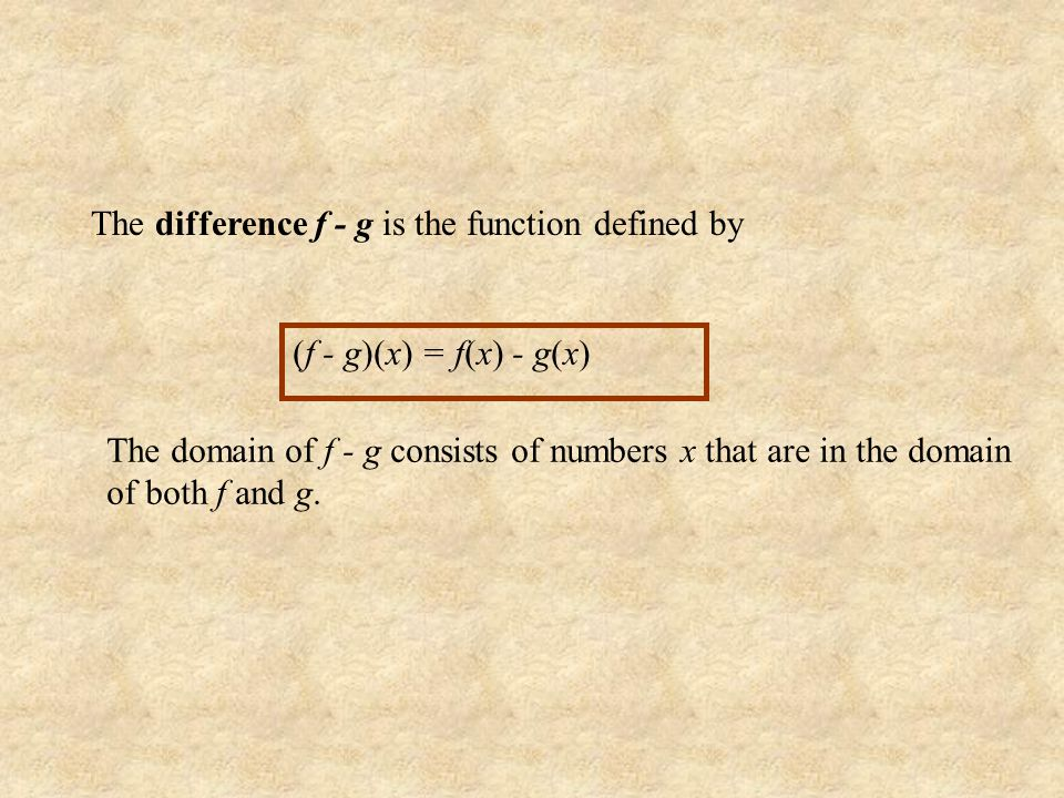 The difference f - g is the function defined by
