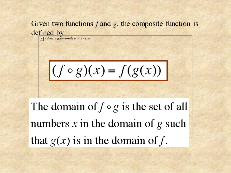 Given two functions f and g, the composite function is defined by