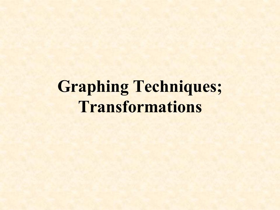 Graphing Techniques; Transformations