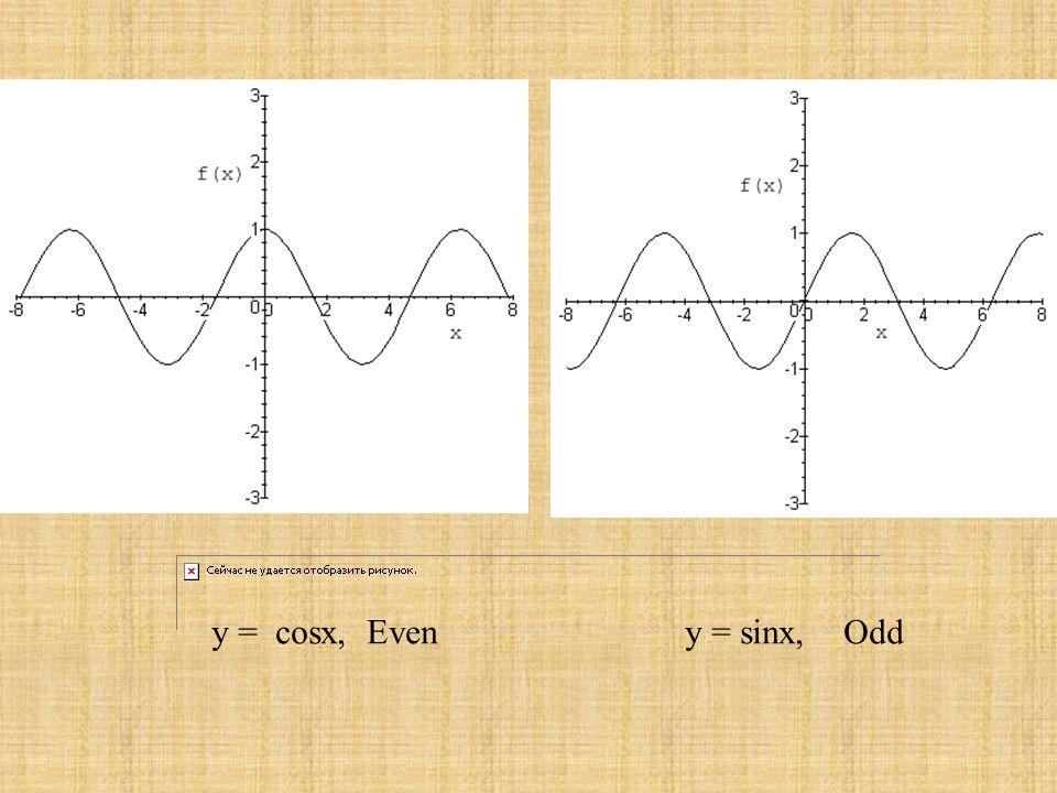 y = cosx, Even y = sinx, Odd