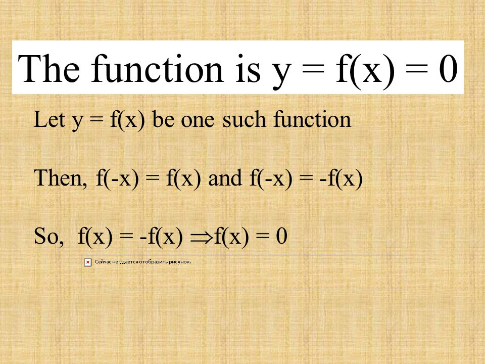 The function is y = f(x) = 0