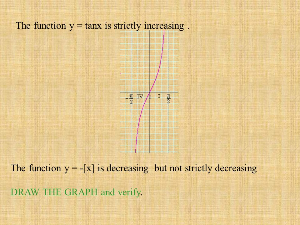 The function y = tanx is strictly increasing .