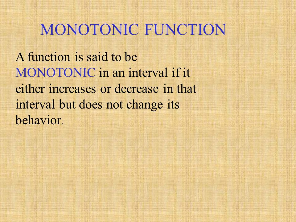 MONOTONIC FUNCTION