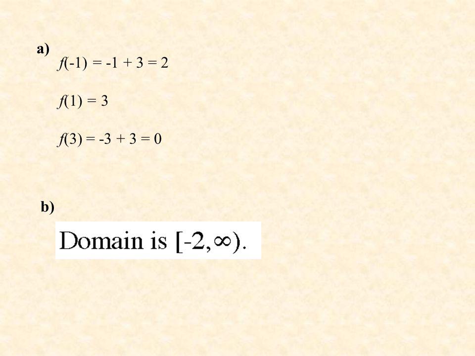 a) f(-1) = -1 + 3 = 2 f(1) = 3 f(3) = -3 + 3 = 0 b)