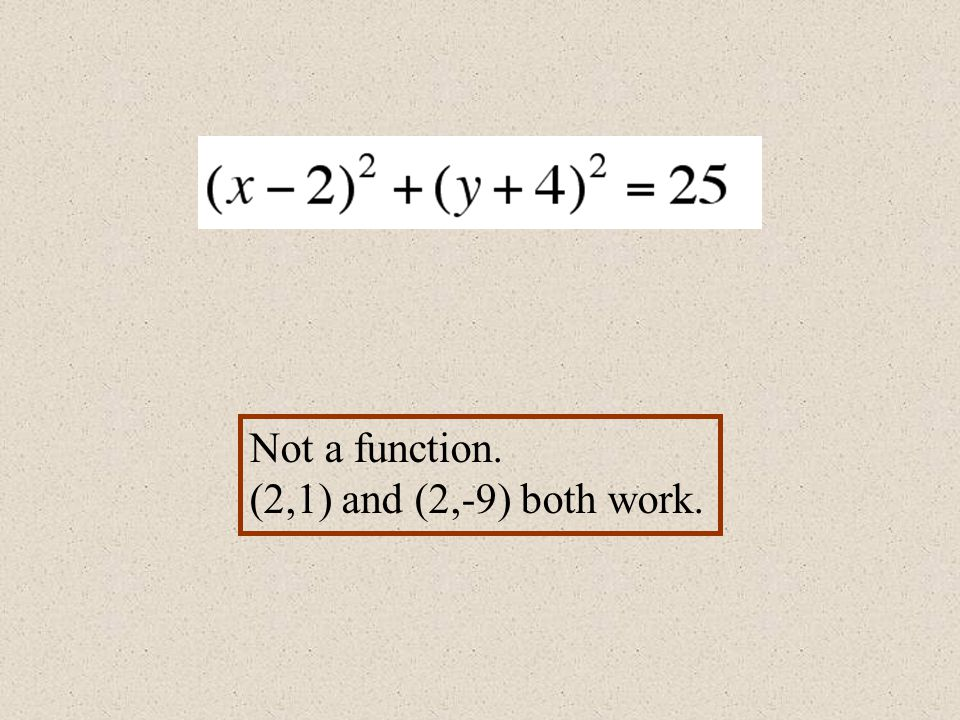 Not a function. (2,1) and (2,-9) both work.