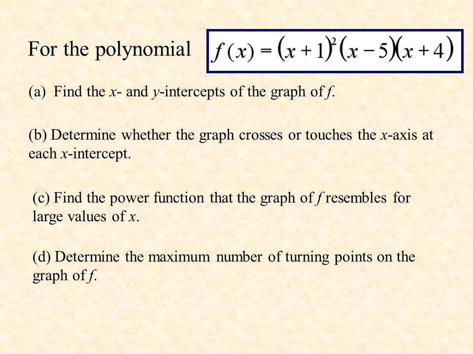 For the polynomial (a) Find the x- and y-intercepts of the graph of f.