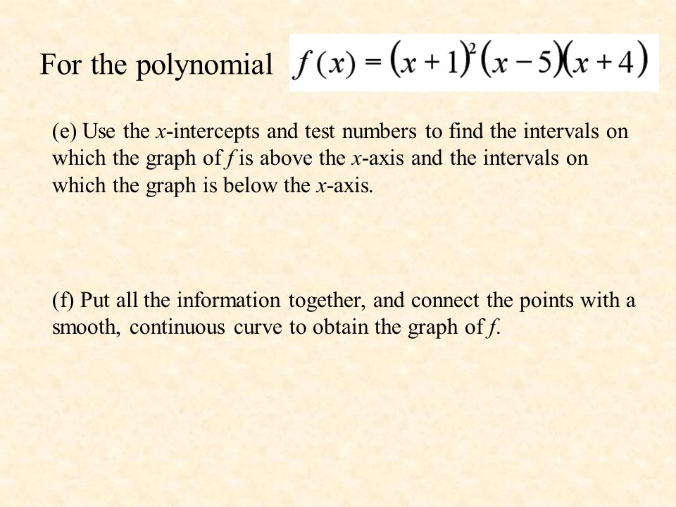 For the polynomial