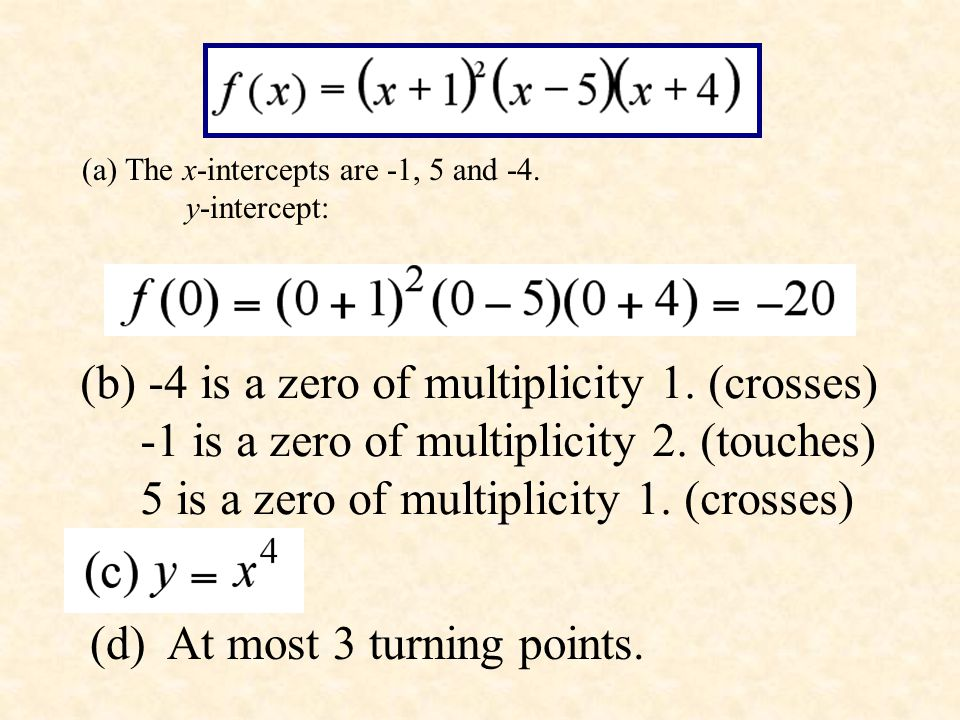 (b) -4 is a zero of multiplicity 1. (crosses)
