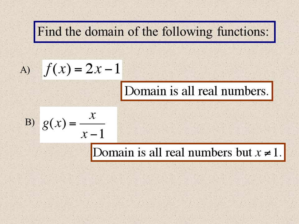 Find the domain of the following functions: