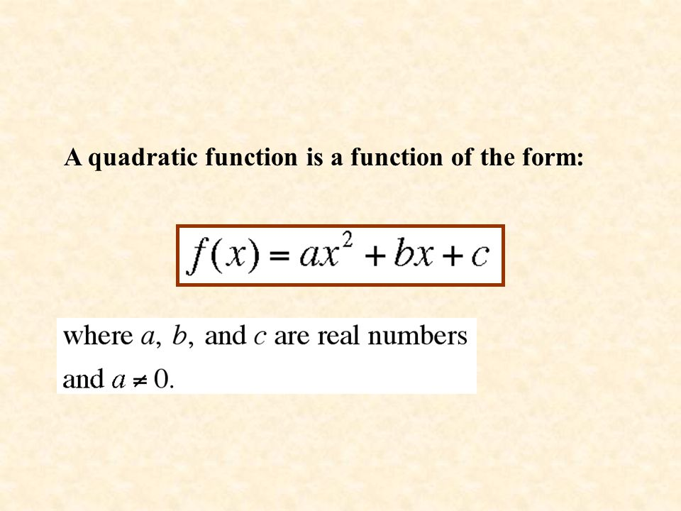 A quadratic function is a function of the form: