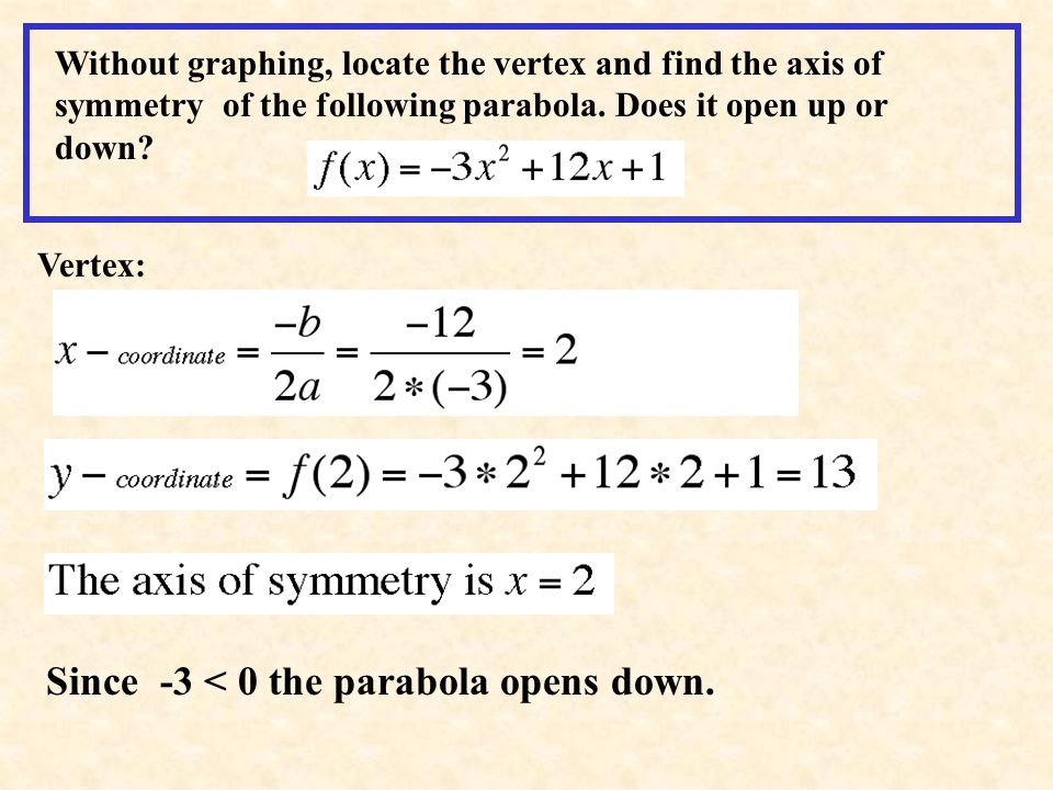 Since -3 < 0 the parabola opens down.