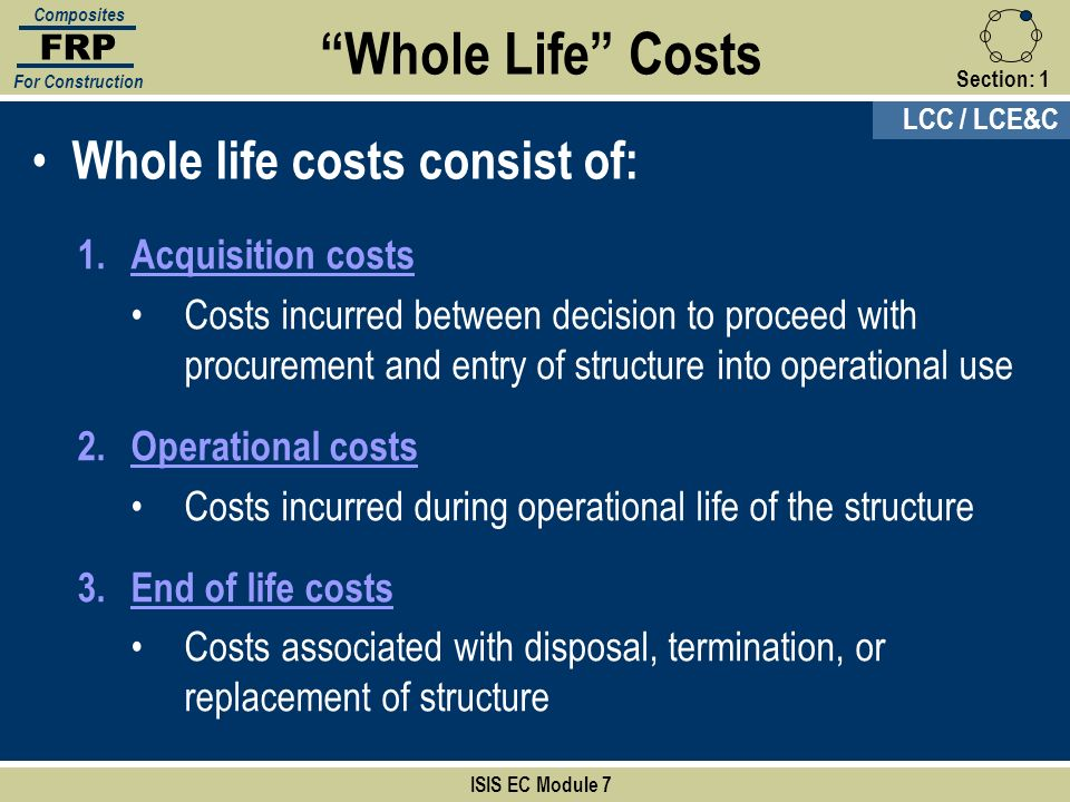 Whole Life Costs Whole life costs consist of: Acquisition costs