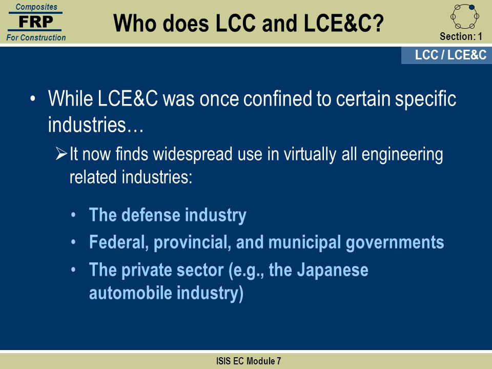 FRP Composites. For Construction. Who does LCC and LCE&C Section: 1. LCC / LCE&C.