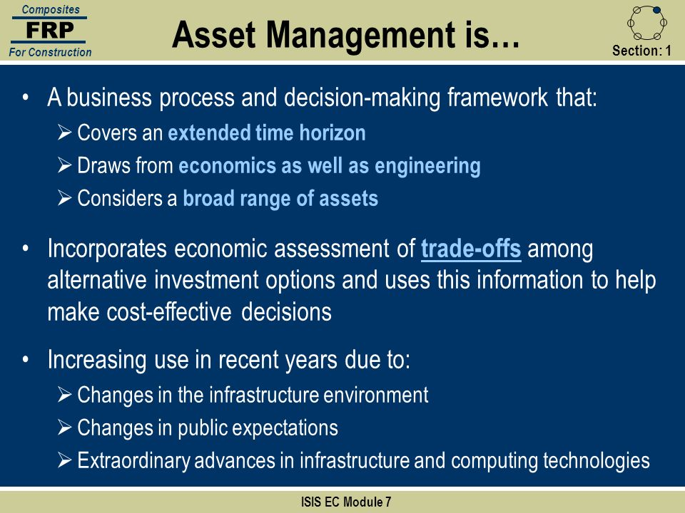 FRP Composites. For Construction. Asset Management is… Section: 1. A business process and decision-making framework that: