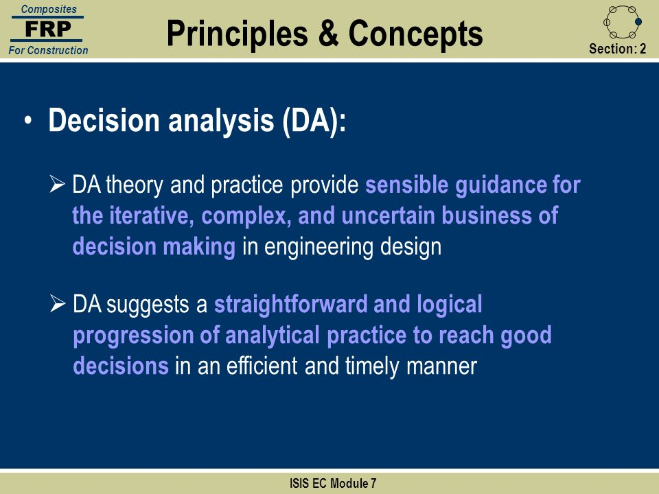 Principles & Concepts Decision analysis (DA):