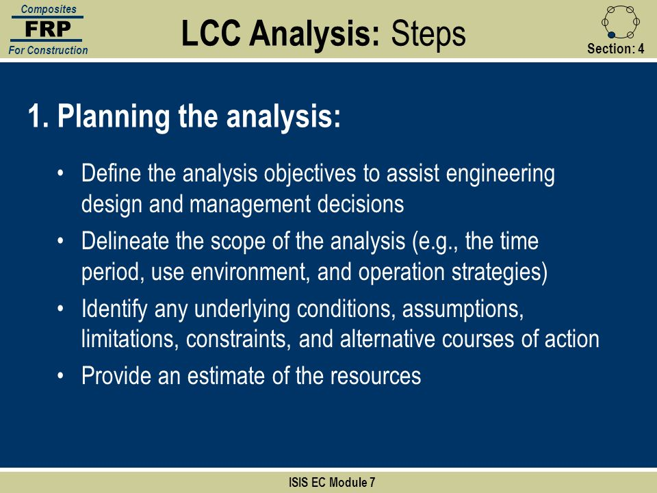 LCC Analysis: Steps 1. Planning the analysis: