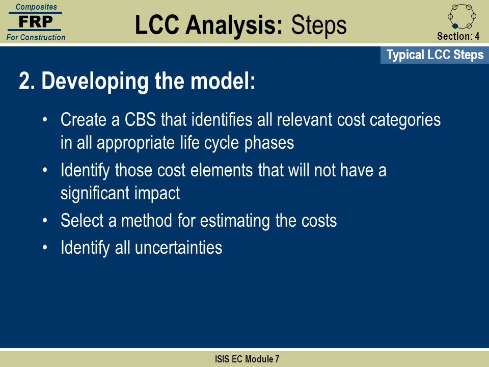 LCC Analysis: Steps 2. Developing the model: