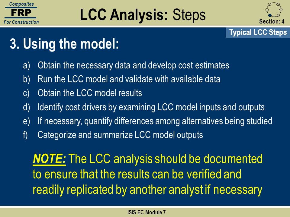 LCC Analysis: Steps 3. Using the model: