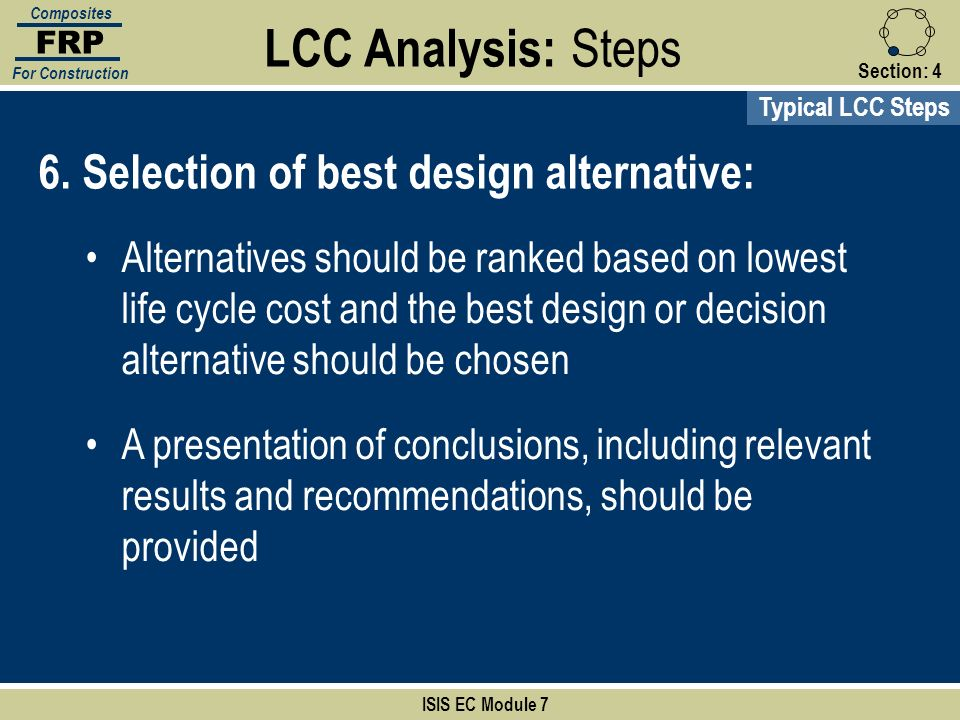 LCC Analysis: Steps 6. Selection of best design alternative: