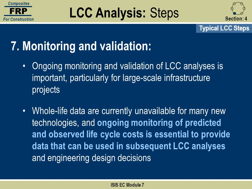 LCC Analysis: Steps 7. Monitoring and validation: