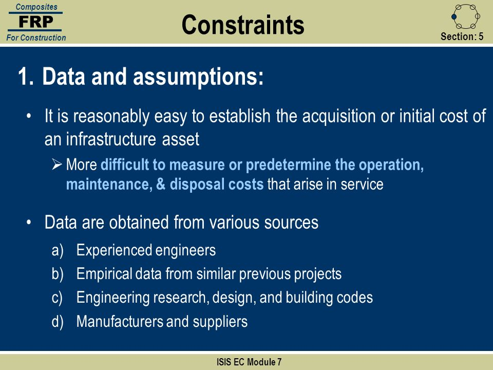 Constraints Data and assumptions: