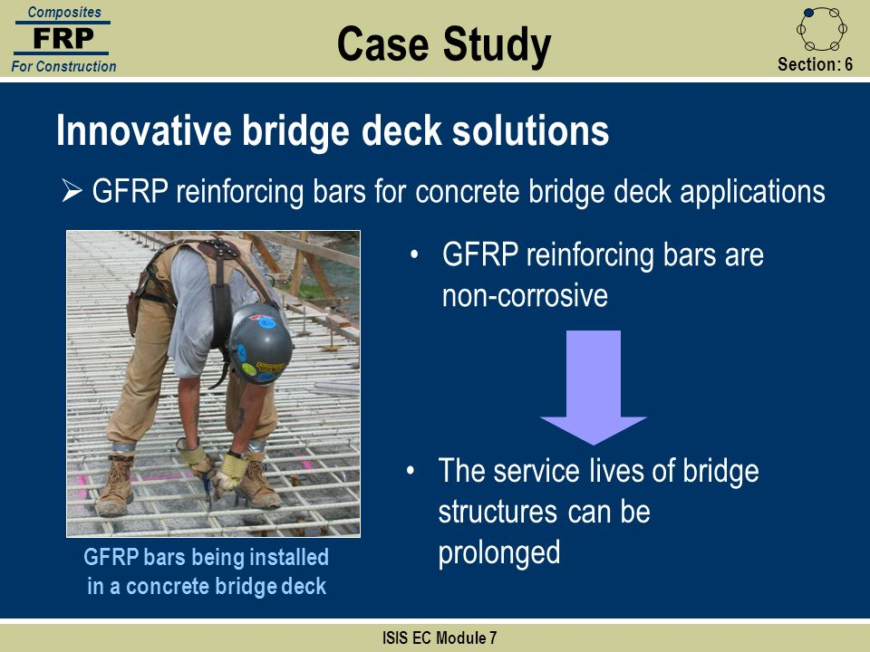 GFRP bars being installed in a concrete bridge deck