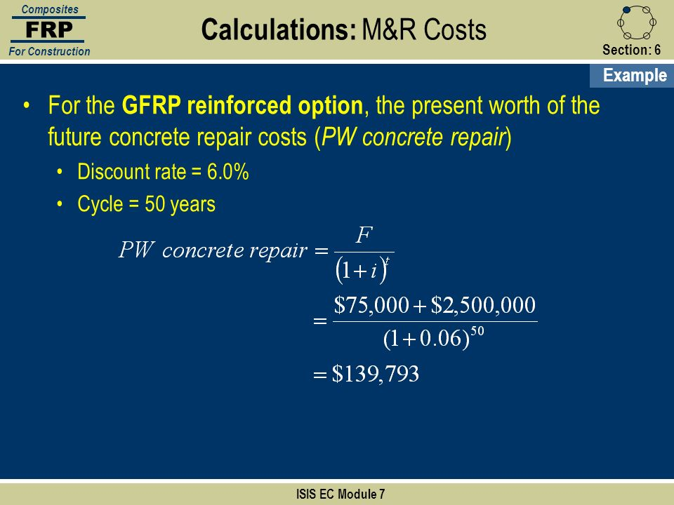 Calculations: M&R Costs