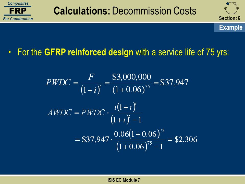 Calculations: Decommission Costs