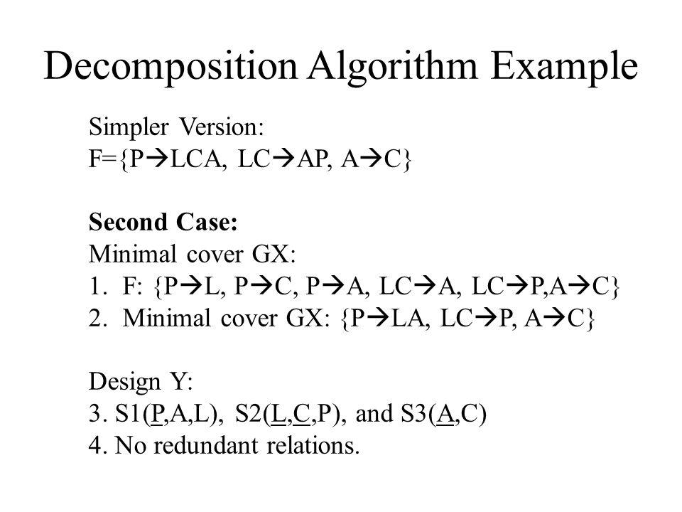 Decomposition Algorithm Example