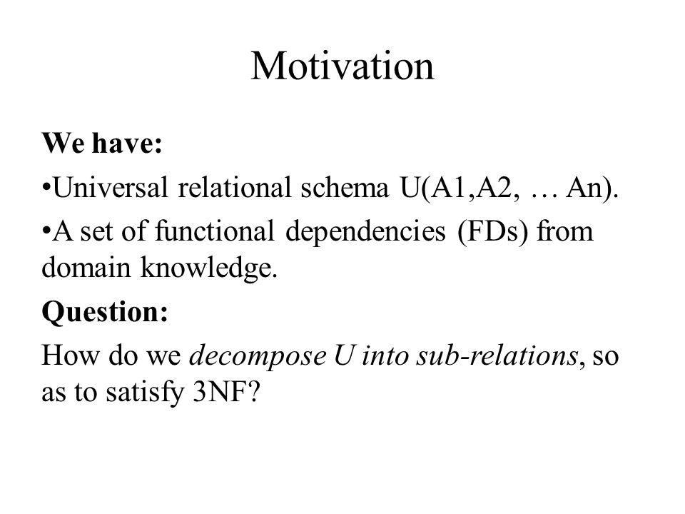 Motivation We have: Universal relational schema U(A1,A2, … An).