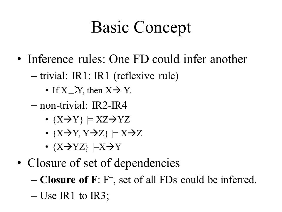 Basic Concept Inference rules: One FD could infer another