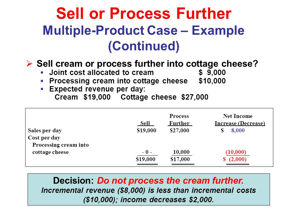 Sell or Process Further Multiple-Product Case – Example (Continued)