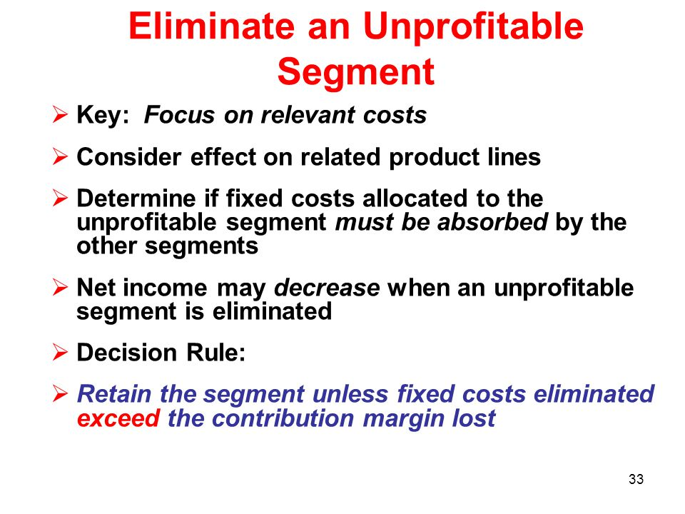 Eliminate an Unprofitable Segment