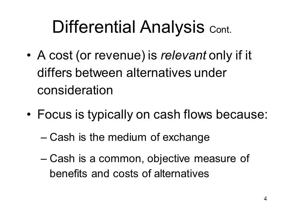 Differential Analysis Cont.