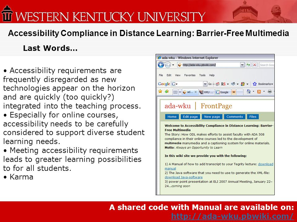 Accessibility Compliance in Distance Learning: Barrier-Free Multimedia
