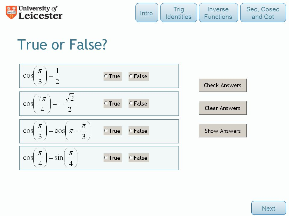 True or False Intro Trig Identities Inverse Functions