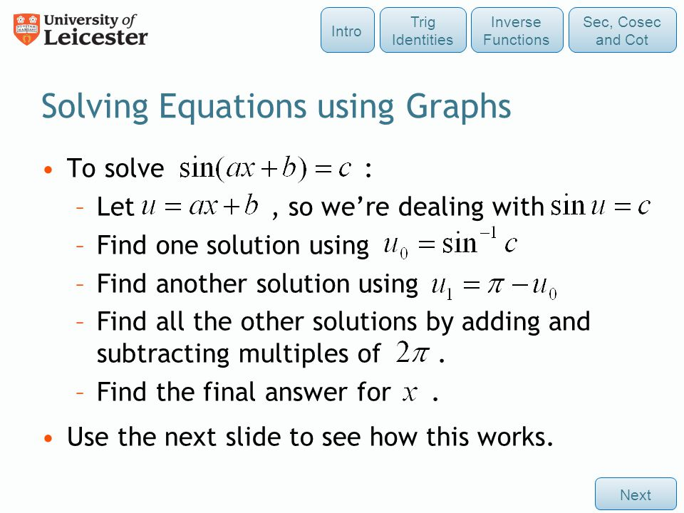 Solving Equations using Graphs
