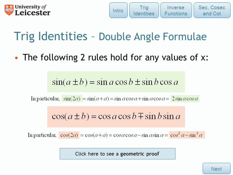 Trig Identities – Double Angle Formulae