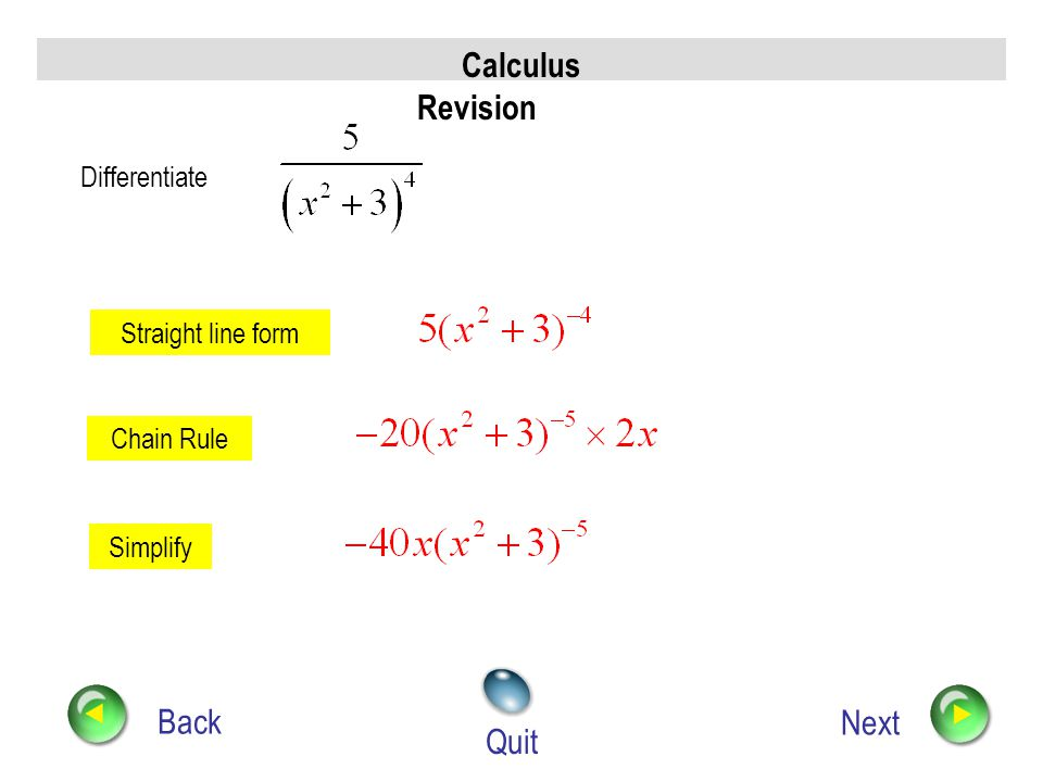 Calculus Revision Back Next Quit Differentiate Straight line form