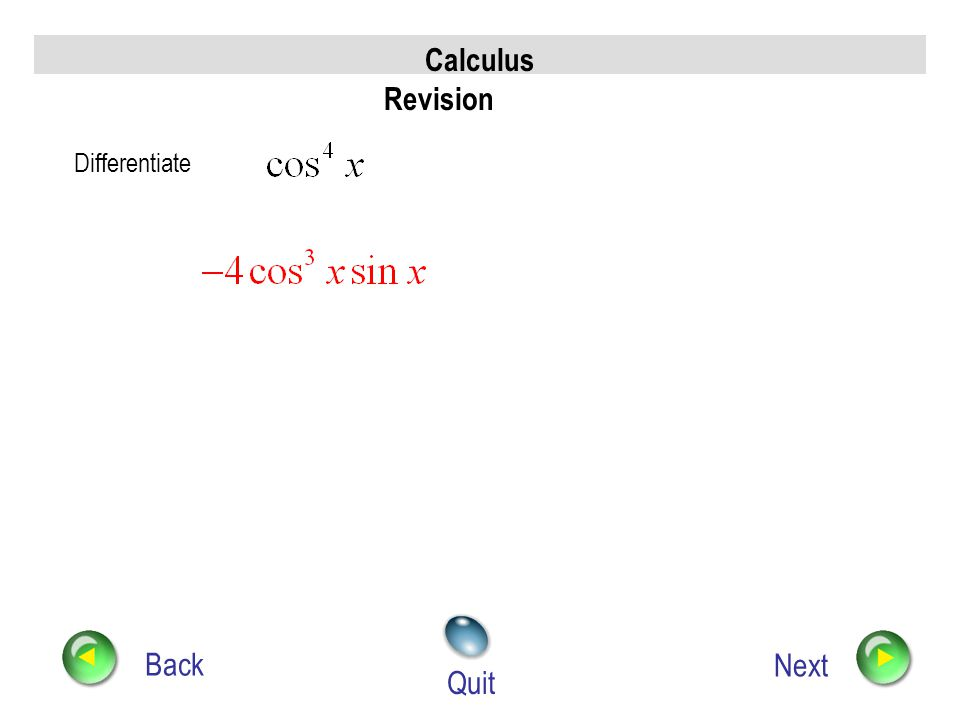Calculus Revision