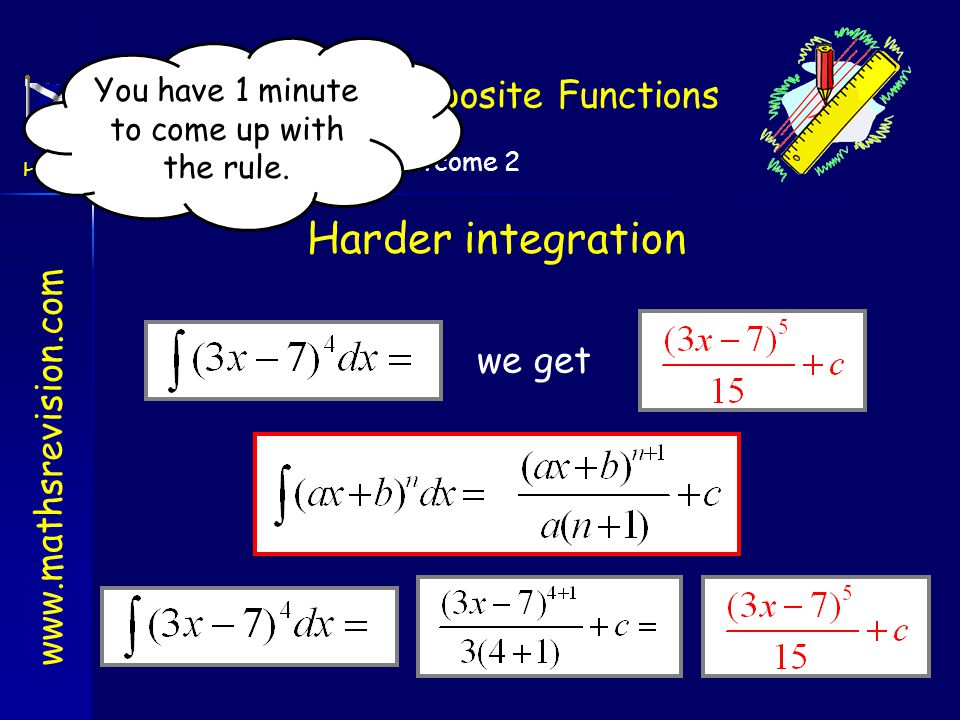 Harder integration Integrating Composite Functions we get