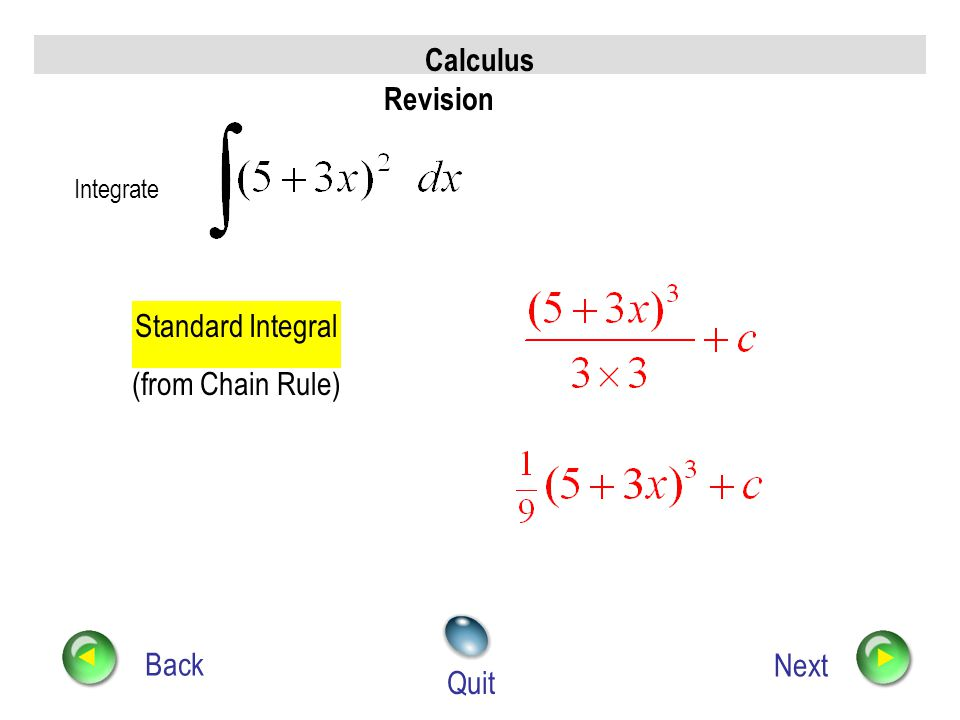 Calculus Revision Standard Integral (from Chain Rule) Back Next Quit