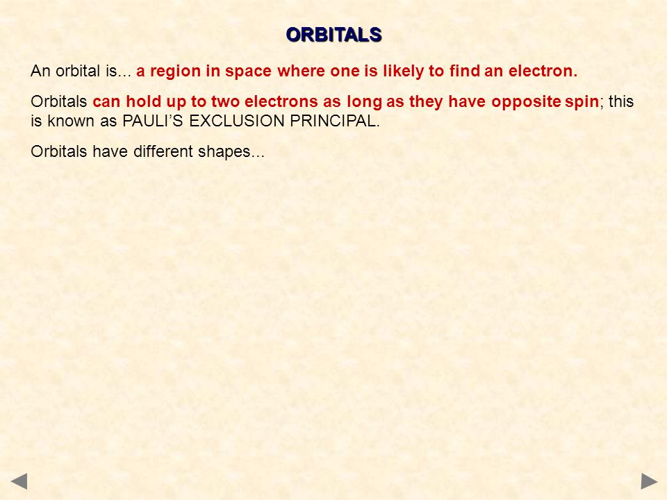 ORBITALS An orbital is... a region in space where one is likely to find an electron.