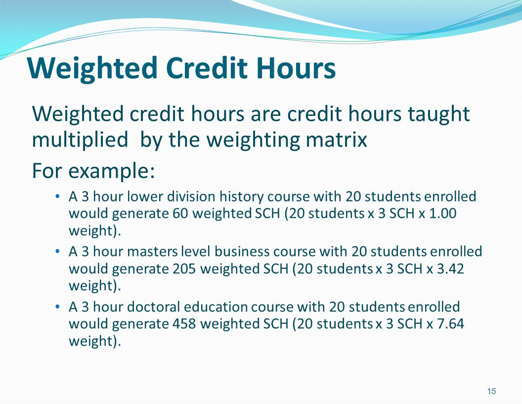 Weighted Credit Hours Weighted credit hours are credit hours taught multiplied by the weighting matrix.
