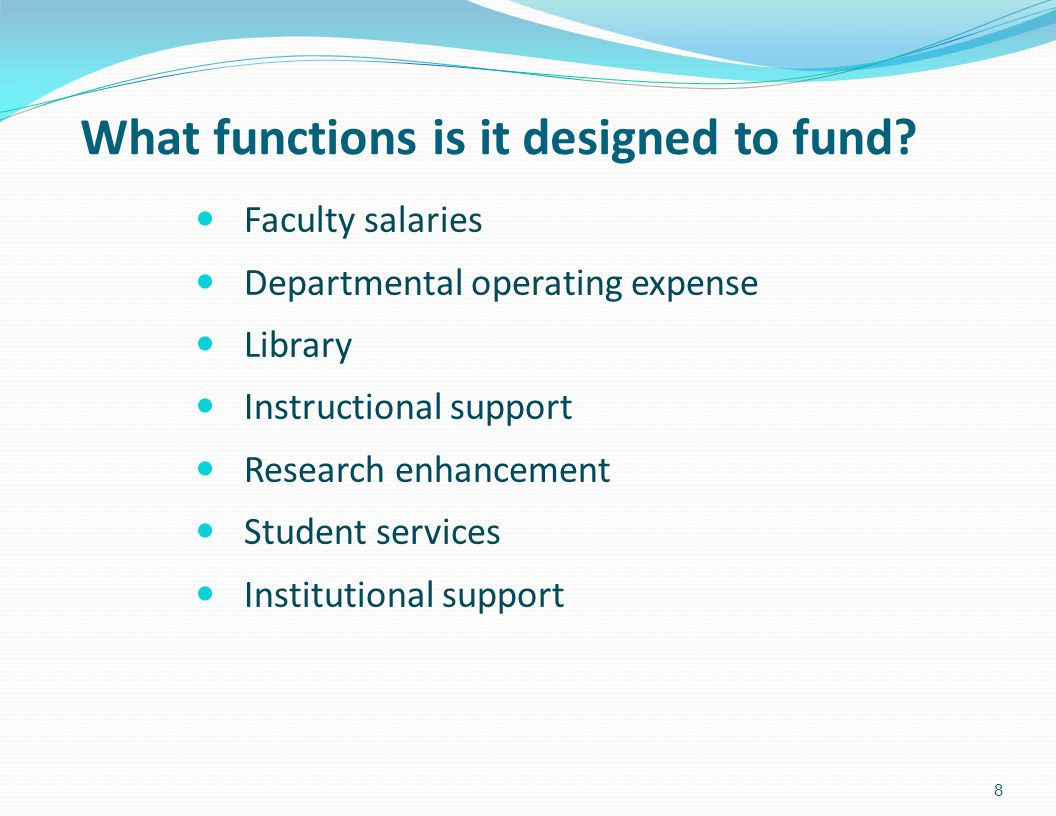 What functions is it designed to fund