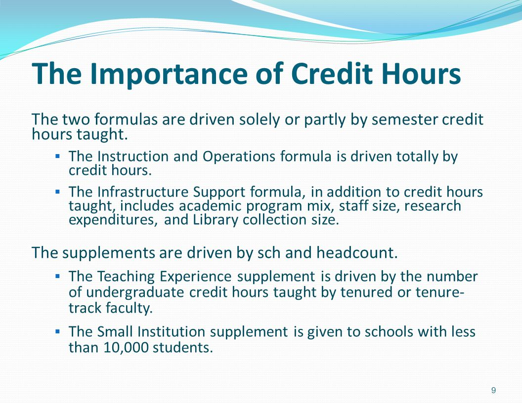 The Importance of Credit Hours