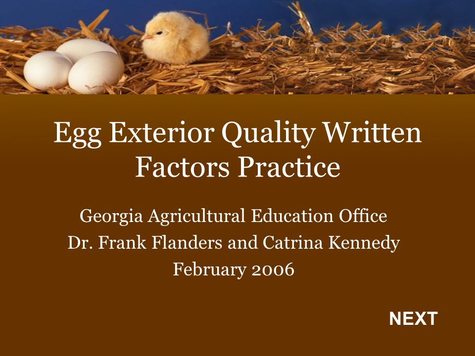 Egg Exterior Quality Written Factors Practice